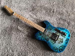 커스텀 샵 도로 착용 브래드 페이즐리 서명 블루 스파클 TL 일렉트릭 기타 크롬 하드웨어 중국 TL 기타