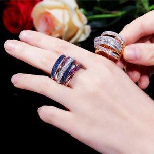 Newest Design Statement Stackable Ring For Women Wedding Cubic Zircon Engagement Dubai Punk Bridal Top Finger Rings