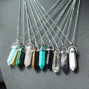 2020 Necklace Jewelry Cheap Healing Crystals Amethyst Rose Quartz Bead Chakra Healing Point Women Men Natural Stone Pendants
