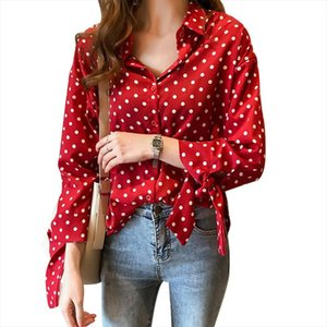 Sexy Polka Dot Blouse Women Office Lady Long Sleeve Shirt Black White Red Fashion Loose Elegant Button Up Womens Blouse