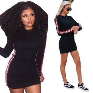 Nachtclub der beiläufigen Frauen Kleid der Frauen-Sommer-Kleider Striped Printed Street Style Female Kleid