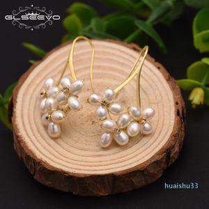 Regalos pendientes de la flor de la venta caliente GLSEEVO Natural perla del agua dulce de Boho cuelgan para las mujeres Pendiente colgante boda joyería Bijoux Femme