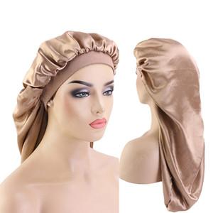 Nuovo larga elastica raso del cofano doppio strato Cappello Capelli lunghi Dormire Cappelli Wrap Notte Cap Cura dei capelli Bonnet per le donne unisex Cap Men