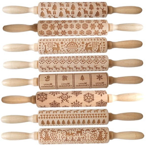 Embossing Rolling Pin Merry Christmas Decorations Cookies Biscuit Fondant Cake Dough Engraved Roller Elk Wooden Baking Moulds GGA3680