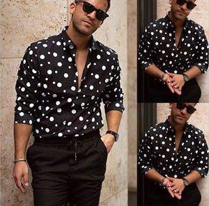 Camicie Designer Men Casual shirt stampate allentato a maniche lunghe risvolto del collo camice del Mens di modo Polka Dot