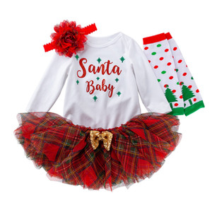 Clearance Autumn Toddler Kids Girls Christmas Day Romper Tops Tutu Dress Hairband Baby rompers Infant clothing Set Deals