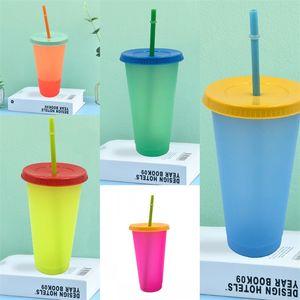 Temperatura Colour Sensing Modifica bicchieri riutilizzabili Cancella caffè Tazza circolare cannuccia di plastica della chiavetta con il coperchio di moda all'aperto 5HB B2