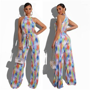 Casual Clubwear Geniş Bacak Pantolon tulum Kadınlar İnce Giyim Suits Kadınlar Colorfull Çizgili Tulum Romper Kolsuz Şık Tulum Yaz