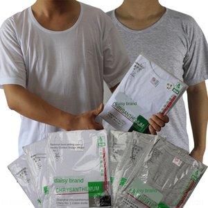 бренд хлопок NolHV хризантемы с короткими рукавами хлопок круглой дышащей майки T- рубашка старика Underpants рыхлых шеями футболки