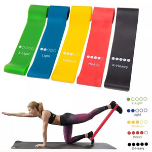 5pcs / set Elastic Yoga-Widerstand-Bänder Gummischlaufe Übungs-Bänder Set Fitness Krafttraining Assist Bands Gym Yoga Ausrüstung
