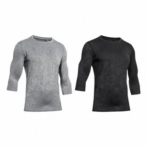 Hombres Ejercicio Camisetas de secado rápido Trainning hombres adelgazan la aptitud Tops Correr elástico jacquard de malla de empalme camisas de las camisetas 46yB #