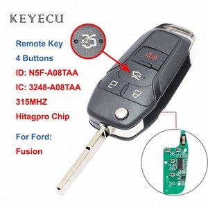 Keyecu Nouveau flip télécommande intelligente télécommande porte-clé 4 boutons 315MHz Fusion 2013 2014 2015 2016 FCC ID: N5F A08TAA Wz6C #