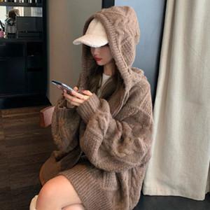 20200829 colore solido maglione cardigan con cappuccio a maniche lunghe