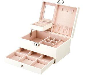Multi-função Juelee caixa de armazenamento de couro da jóia Organizador Multi-camada de jóias de exibição Joyeros Organizador De Joyas44