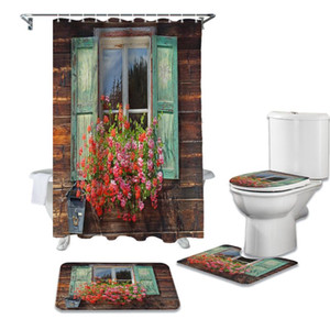 Flowers Windows Wooden House Retro Shower Curtain Sets Non-Slip Rugs Toilet Lid Cover and Bath Mat Bathroom Curtains Set