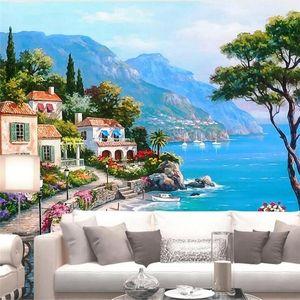 Diantu Custom Wallpaper 3d Büyük Fotoğraf Duvar Akdeniz Bahçe Peyzaj Yağlıboya Resim Tv Arkaplan Seascape oturma odası