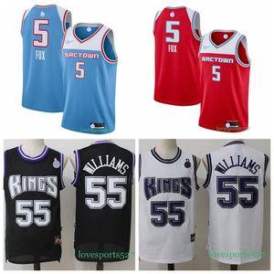 Sacramento de homensreisCamisa 5 De'Aaron Fox Jersey Jason Williams 55 Basketball Jersey Shorts novo 822