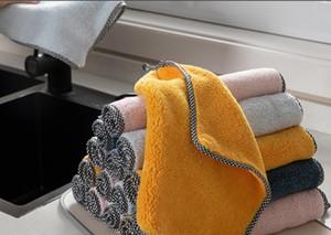 Бытовой утолщенной ветошь кухонная для мытья посуды утолщенной абсорбирующей скатертей стол полотенце чистки безмасляной безворсовая губку микроволокно брюшного пресс