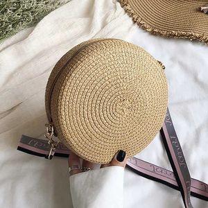 2020 new Women Handmade Hangbag Fashion Straw Weave Round Bag Small Summer Beach Travel Shoulder travel Bag Casual style Retro Cross Body