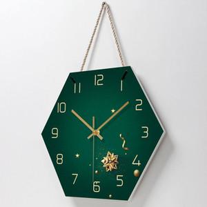 Fashion Lanyard Clock Living Room Decoration Table Creative Minimalist Wall Clock Beauty Salon Beautiful Mute Hexagon Table Wall