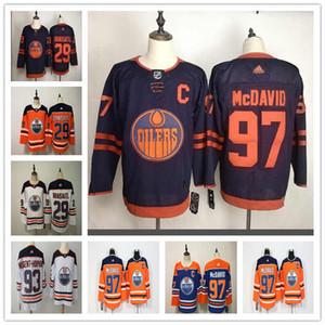 Erkekler Edmonton Oilers 29 Leon Draisaitl 97 Connor McDavid 93 Ryan Nugent-Hopkins Fanatics Markalı Turuncu Kopan Oyuncu Jersey