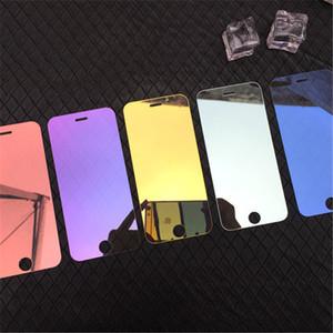 Écran miroir coloré protecteur en verre trempé pour iPhone X XR XS 11 Pro Max 7 8 6 6S plus 9H Garde de protection Film