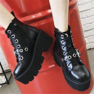 2020 Sexy Rivet Black Ankle Boots Women Platform Soft Leather Autumn Winter Ladies Punk Boots With Zipper Thick Sole Shoes 35-39