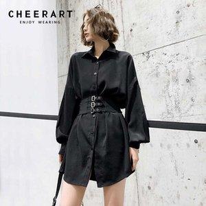 Cheerart Siyah Gömlek Elbise Korse Tunik Elbise Kadınlar Uzun Kollu Gotik Dantel Yukarı Yaka Giyim