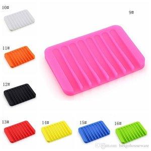 Çok renkli Suyu Drenaj Karşıtı Skid Sabun Kutusu Silikon Sabunluklar Banyo Sabun Tutucular Vaka Ev Banyo Malzemeleri 16 Renkler Bc Bh1105