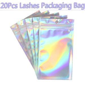 20Pcs Lashes Packaging Bag Aluminum Foil Holographic Shiny Storage Reclosable Pouches Self Seal Waterproof Plastic Box Wholesale