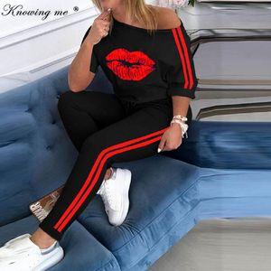 Women Boat Anchor Print Tracksuit sets Lady 2020 Summer sexy off shoulder 2pcs set Elegant blouse+Elastic Waist Long Pants Sets X0924