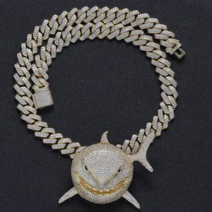 atacado Hop Bling para fora congelado Tubarão colares pingentes com Cadeia Praça CZ Cuban Link for Men Rapper Jóias Drop Shipping