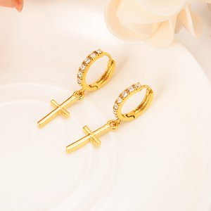 Zircon Earring Special Christian Vogue True Real 22 K 24 K Thai Baht Yellow Gold Plated Crucifix Cross Timeless Charm Earrings