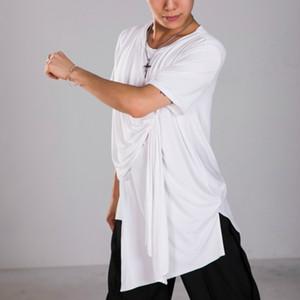 Latin dance top for men soild black white custumes short sleeves dance wear top chacha sumba competition dresses