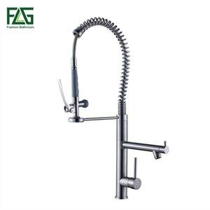 FLG Primavera Stile rubinetto della cucina nichel spazzolato rubinetto a 360 gradi di rotazione della cucina rubinetto in ottone monocomando piattaforma montata Rubinetti 3582N