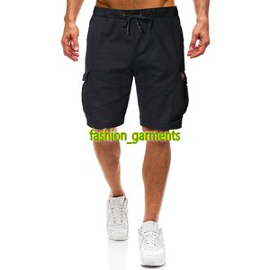 2019 Summer New Mens Fashion Solid Color Pants Men Casual Shorts Mens Designer Shorts Black Khaki Mens Drawstring Shorts