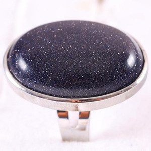 Ring Natural Stone Oval CAB Cabochon Bead Blue Sandstone Adjustable Finger Ring Jewelry For Women Gift Z120