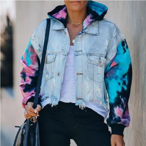 Sıcak yüksek son moda kadın ceket Delik Jeansjacke kot kadın ceketler 2020ss Sonbahar büyük beden kadınlar ceket saçaklı kravat-boya