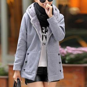 Spring Winter Casual Warm Thick Hoodies Fashion Fleece Zipper Women Hooded Sweatshirt Plus Size S 4XL Women Clothing