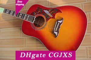 기타 공장 도매 사용자 정의 도매 체리 스프루스 탑 로즈 우드 Fretboard의 어쿠스틱 일렉트릭 기타 무료 배송 버스트