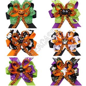 Filles hairbows Hairpins Halloween motif araignée citrouille cravate cheveux Porte-Bows Barrettes bébé Barrettes Student Party cheveux D82003 Boutique