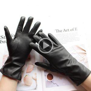 Bickmods las nuevas mujeres de guantes de cuero y Otoño Invierno Cálido Veet Forro rectos Guantes Estilo Negro de piel de oveja