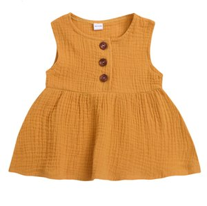 DHgate Fashion 3coloursToddler Kids Baby Girls Solid Sleeveless Dress Sundress Princess Party DressClearance newst baby dress Z0208