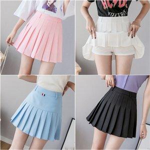 OM73H + verão doces calças skirt- LINHA plissada saias estudante plissado Um anti-exposição Segurança versátil calças semi-segurança saia de linha A-