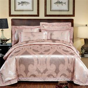New Silk Cotton cetim de luxo Jacquard Bedding Set oco rendas tamanho Rainha Rei cobertura JPCS edredon definir cama Bedsheet linho Pillowcase