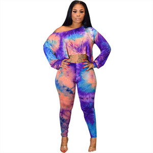 2019 New Women Sets Tie Dye Galaxy Print Off Shoulder Long Sleeve Tee Pants Suit Two Piece Set Casual Sporty Tracksuit Outfit