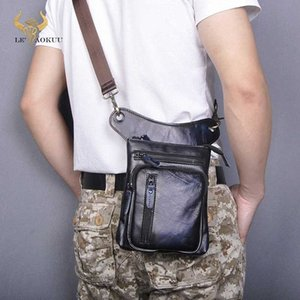 Genuine Real Leather Design Men Cross Body Satchel Bag Fashion Organizer Fanny Waist Belt Pack Drop Leg Bag Tablet Case 211 11 Best Ha DhBH#