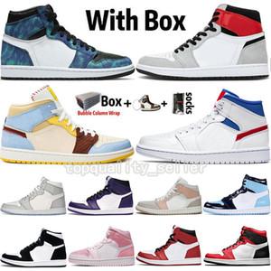 2020 Nouvelle arrivée Jumpman 1 1s Hommes Chaussures de basket haute OG Dio UNC Tie-Dye numérique rose serpent Chicago Femmes Chaussures Hommes Baskets Taille 13