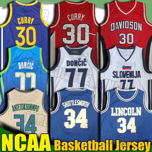 NCAA Lincoln 34 Ray Allen Giannis Antetokounmpo film Jersey Luka 77 maglie Doncic Università Stephen Curry 30 College Basketball Maglie