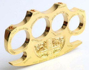 2Pcs DETECTIVE CONSTANTINE BRASS KNUCKLE DUSTERS GOLD Powerful damage safety equipment self-defense